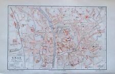 1897 Graz - alte Stadtplan Karte Österreich old city map