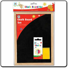 CHILDREN KIDS CHALK BOARD SET WITH 4 COLOURED CHALKS AND DUSTER