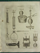 1797 GEORGIAN PRINT ~ PNEUMATICS ~ VARIOUS APPARATUS EQUIPMENT