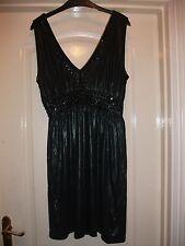 Vestido de fiesta Topshop LBD Negro Brillo grano adornado con cuello en V elástico V-Back 12