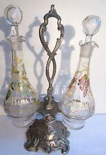 Huilier vinaigrier 2 carafes émaillées Legras Olives & Raisins, support Louis XV