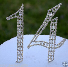 """5"""" Crystal Rhinestone Number Fourteen 14 Silver Cake Topper Top Birthday Party"""