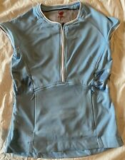 New listing Zoic Cycling Bike Jersey  Blue Cap Sleeves Zip Pockets 1/2 Zip-up Women's Small