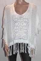 Sportsgirl Brand White Knitwear Fringe Poncho Cover Up Size S/M BNWT #SC05