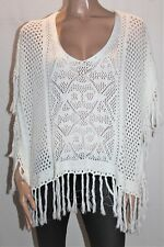 Sportsgirl Brand White Knitwear Fringe Poncho Cover Up Size S/M BNWT #SC05