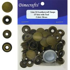 Leathercraft 9/16 Inch Line 24 Snap fastener kit CT.15 w/Tools - Brass