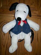 Peanuts Gang Snoopy Plush Stuffed 17� Backpack Zippered Back Denim Vest