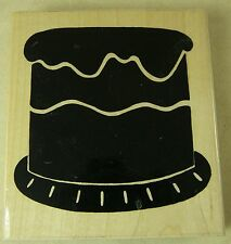 JRL DESIGN CO Rubber Stamp CELEBRATE WITH CAKE S325 Big 3-5/8 inches
