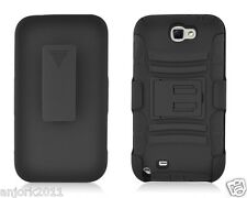 Samsung Galaxy Note II 2 Hybrid Cover Case w/ Stand + Holster Combo Black