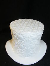Vintage Milk Glass Top Hat Vase Button & Daisy Pattern Fenton