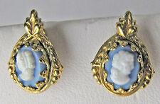 Vintage 12K Gold Filled Cameo Wedgwood Stud Pierced Earrings