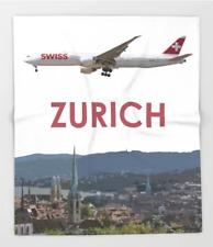 Swiss Boeing 777 over Zurich Art - 51x60 Throw Blanket