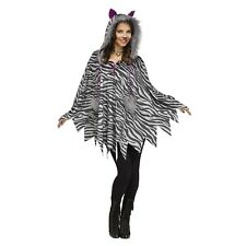 Womens Furry Cat White Tiger Ears Hooded Poncho Cape Top Halloween Costume