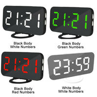 Dual USB Digital LED Clock Snooze Mirror Alarm Clock Time Night Mode White Large
