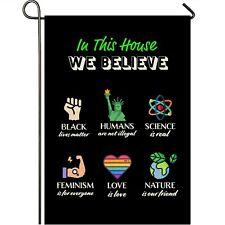 Mogarden in This House We Believe Garden Flag, 12.5 x 18 Inch, Blm Yard Flag