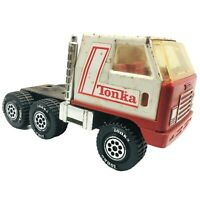 """Tonka Truck 9.5"""" Pressed Steel With Plastic Semi Cab 1978 Red White Vintage"""