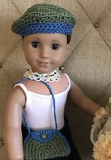 "New Doll Clothes Beret Necklace Bag fits 18"" American Girl Doll Bohemian Peasant"