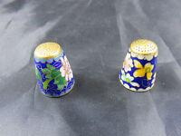 Vintage Fingerhut Email 2 Stück Messing Emeiliert thimble Blau Blumen Muster