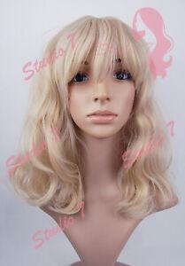 W161 Honey Blonde Mix Mid Length Wavy Straight Fringe Sythetic Wig - studio7-uk