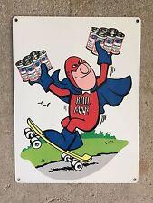 Budweiser Bud Man Brewery Vintage Skateboard Skateboarder Beer Can Metal Sign Ad