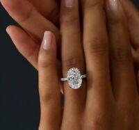 2.60 Ct Oval Cut Diamond Engagement Ring & Band Set Micro Pave 14K WG E,VS2 GIA