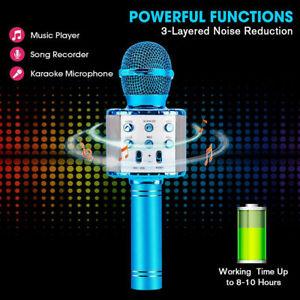 WS858L LED Bluetooth Microphone Wireless Karaoke Singing Music Play Speaker UK