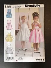 Simplicity 8351 Toddler Dress Dresses size 3 - 8 NEW UNCUT 4 Styles fancy casual