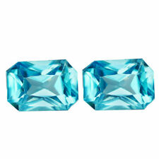 2.87 TCW IF 2pcs Natural Blue ZIRCON for Jewelry Setting Octagon Cut 7.0x5.0mm