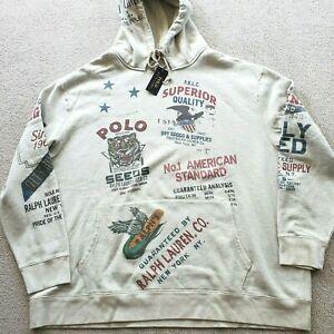 Polo Ralph Lauren Vintage Dry Goods Hoodie Gray Sweatshirt Mens Big & Tall 2XLT