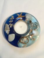 GLASS CANDLE HOLDER WITH FLORAL DESIGN  - Mini HAND MADE