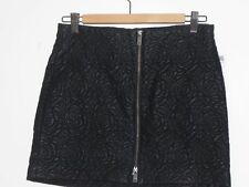 NWT ZARA BLACK FAUX LEATHER FLORAL EMBROIDERED MINI SKIRT FRONT ZIP SIZE SMALL