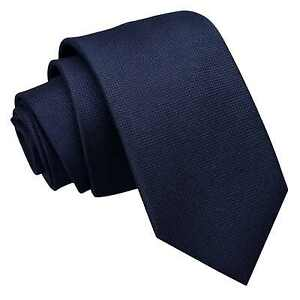 Navy Blue Mens Slim Tie Woven Plain Solid Check Casual Modern Necktie by DQT
