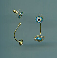 Yellow Gold Plated, Turquoise Enamel & Crystal Evil Eye with Jacket Earrings
