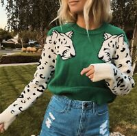M NWT Boho Green Leopard Animal Print Cozy Vtg 70s Ins Sweater Womens MEDIUM