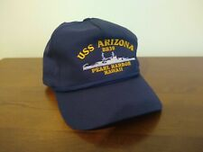 USS Arizona BB39 Pearl Harbor Hawaii WWII Navy Blue Snapback Hat Cap