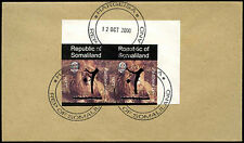 Somaliland 2000 Lion Imperf Pair Hand Overprint Cover #C33864
