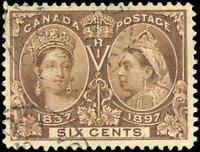 1897 Used Canada 6c F-VF Scott #55 Diamond Jubilee Stamp