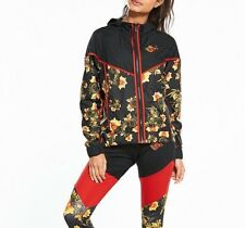 Nike Sportswear Windruner Printed Floral Jacket 922188-010 Black Yellow Size S