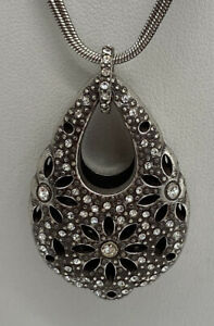 Brighton Flowers Silver Crystal Snowflake  Tear Drop  Double Strand Necklace