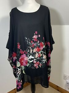 Yours Clothing Floral Print Sheer Chiffon Black & Red Size 20 Layered Floaty