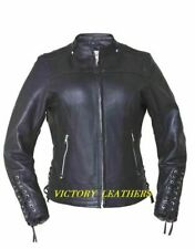 Ladies Leather Motorcycle Jacket with Laces on Sleeves 6801.PL Size Large