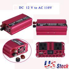 Car Charger 1500W DC 12V to AC 110V 120V Power Inverter Converter USB adapter