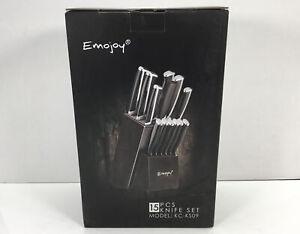 Emojoy Knife Set, 15-Piece Kitchen Knife Block Set, German Stainless Steel
