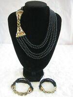 "HEIDI DAUS ""Deco MasterClasp"" (Jet/Ivory)) Multi-Strand Necklace (Orig.$289.95)"