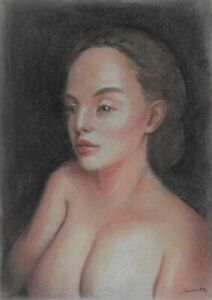 original drawing A4 371BJ art samovar pastel modern female nude Signed 2021
