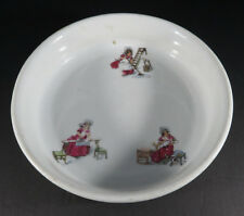 Vintage porcelain baby plate dish bowl girl maid ABCDEF decor