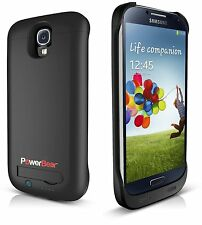 PowerBear S4 3000mAh Battery Case, High Capacity, Black, with Screen Protector