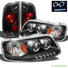 For 97-03 F150 1pc Black Halo Projector Headlights + Altezza Style Tail Lights