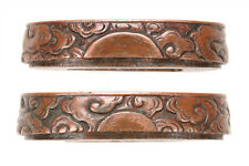 Antique Japanese Copper Fuchi Aikuchi Dagger Clouds Sword Fitting Tsuka Handle