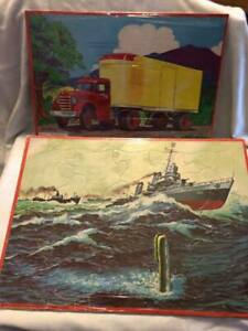 Milton Bradley - 1955 Red Semi Truck Puzzle 1965 Warships Puzzle Tray Puzzles